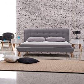 Łóżko tapicerowane do sypialni w stylu skandynawskim Borys