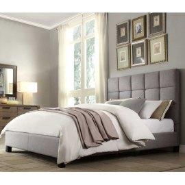 Szare łóżko tapicerowane Optima