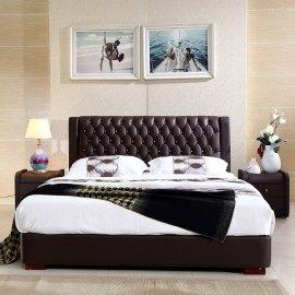 Brązowe łóżko pikowane Set