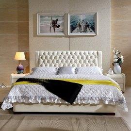 Beżowe łóżko tapicerowane Set