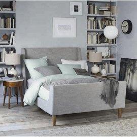 Szare łóżko do sypialni stylowe Seul