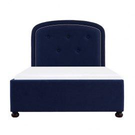 Granatowe łóżko tapicerowane Ruso