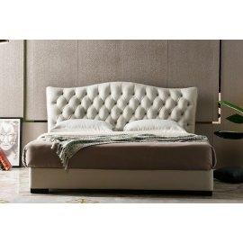 Klasyczne białe łoże tapicerowane Lines