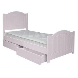 różowe łóżko dla dziecka z szufladami