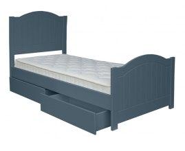 niebieskie łóżko dla dziecka z szufladami
