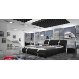 Nowoczesne czarne łóżko tapicerowane Madera