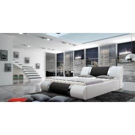 Białe łóżko tapicerowane Madera