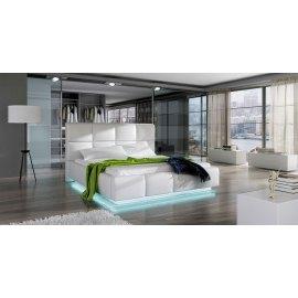 Łóżko tapicerowane z ledami Armado