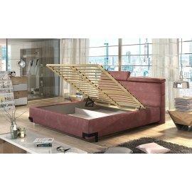 Łóżko z regulowanym zagłówkiem i pojemnikiem na pościel Gracjan