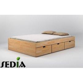Łóżko bukowe z szufladami - Turkus