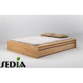 Bukowe łóżko z szufladami - Topaz