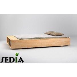 Drewniane łóżko z półką na książki - Iryd