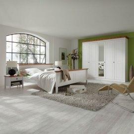 Białe drewniane łóżko do sypialni - Stilo
