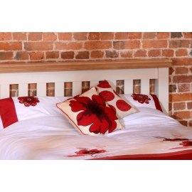 Łóżko drewniane białe z dębowym cokołem