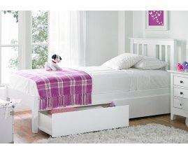 Iberis - białe łóżko do sypialni z pojemnikiem