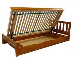 Sosnowe łóżko z pojemnikiem Lulu II