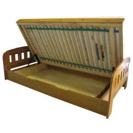 Łóżko sosnowe z pojemnikiem na pościel Uno II