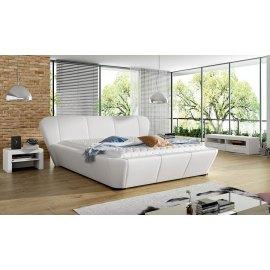 Białe tapicerowane łóżko Drago