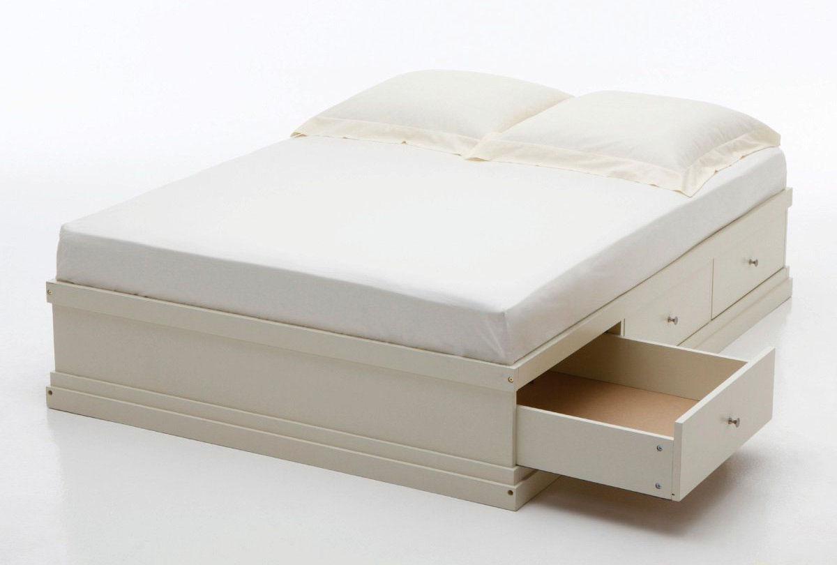 białe łóżko z szufladami