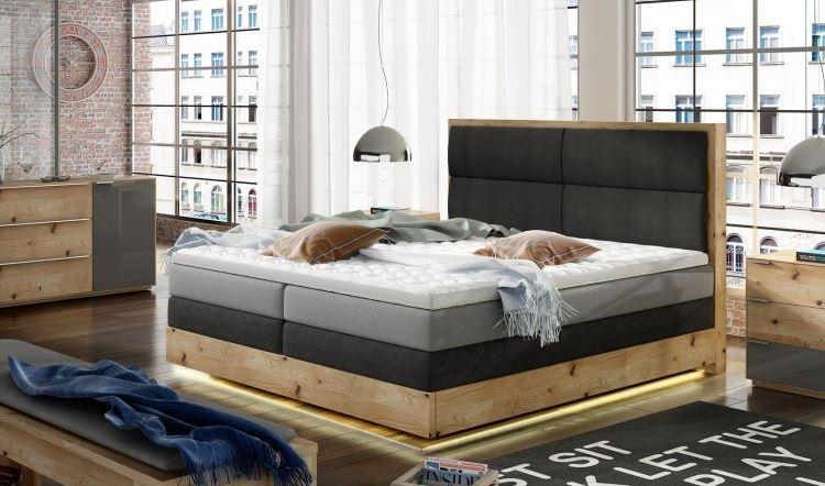 Łóżka kontynentalne tapicerowane
